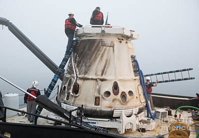 Fantasy Royalty-Free and Rights-Managed Images - Spacexs Dragon Capsule Shortly by Stocktrek Images