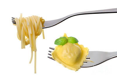 Silver-filled Photograph - Spaghetti And Ravioli On Forks White Background by Lee Avison