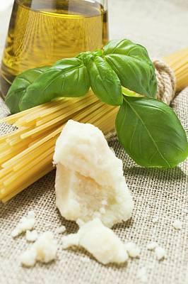 Spaghetti, Parmesan, Basil And Olive Oil Art Print