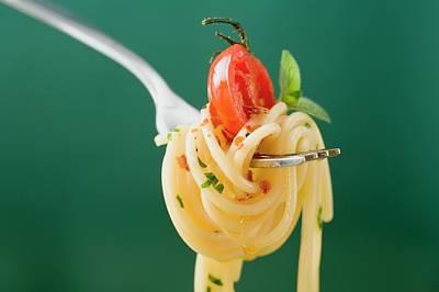 Spaghetti With Cherry Tomato On Fork Art Print