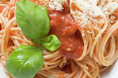 Spaghetti With Tomato Sauce, Basil And Parmesan (close-up) Art Print