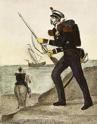 Spain 1833. Carabiniers Of Coasts Print by Everett
