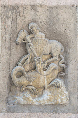 Spain, Barcelona, Relief Sculpture Of St Art Print by Jim Engelbrecht
