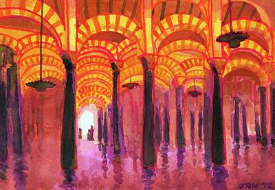 Painting - Spain, Cordoba, Moorish Arches In by John Newcomb