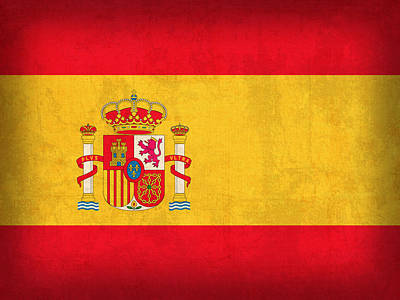 Spain Flag Vintage Distressed Finish Art Print by Design Turnpike