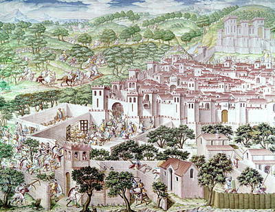 Spanish Town Painting - Spain Higuerela, 1431 by Granger