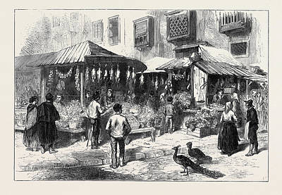 Miguel Art Drawing - Spain Old Market-place Of San Miguel 1873 by Spanish School
