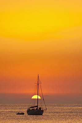 Spain, People Watching Sunset Art Print