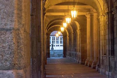 Spain, Santiago Archways And Door Art Print