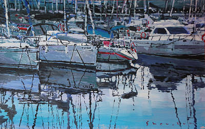 Yachts Painting - Spain Series 05 Port Del Balis by Yuriy Shevchuk