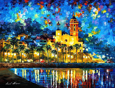 Free Painting - Spain-sitges - Palette Knife Oil Painting On Canvas By Leonid Afremov by Leonid Afremov