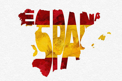 Abstract Map Mixed Media - Spain Typographic Map Flag by Ayse Deniz