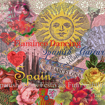 Spain Vintage Trendy Spain Travel Collage  Art Print by Mary Hubley