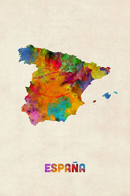 Spain Watercolor Map Art Print by Michael Tompsett