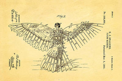 Unique Unusual Gifts Photograph - Spalding Flying Machine Patent Art  3 1889 by Ian Monk
