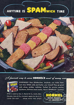 Spam 1950s Usa Hormel Meat Tinned Art Print by The Advertising Archives