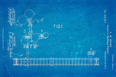 1875 Photograph - Spang Railway Signal Patent Art 1875 Blueprint by Ian Monk