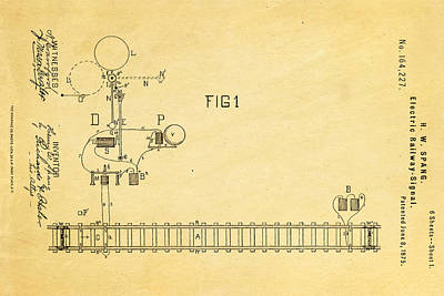 1875 Photograph - Spang Railway Signal Patent Art 1875  by Ian Monk