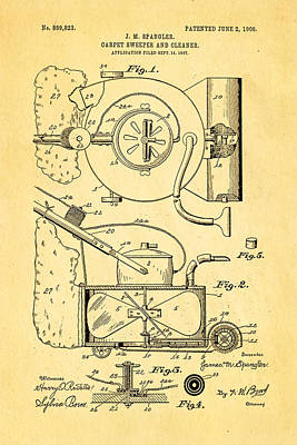 1908 Photograph - Spangler Carpet Cleaner Patent Art 1908 by Ian Monk