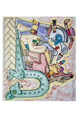 Spaniard Conquers Aztec Art Print