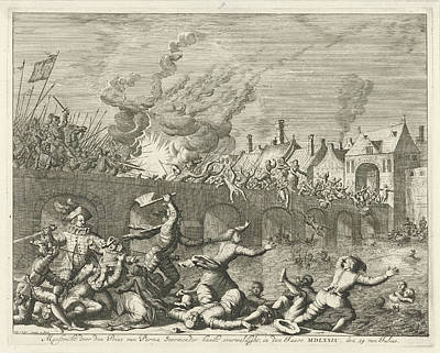 Maastricht Drawing - Spaniards Killing People In Maastricht, 1579 by Jan Luyken