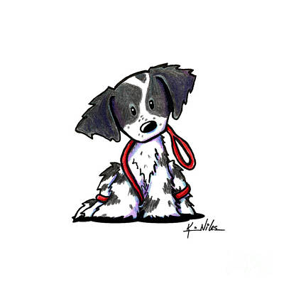 Spaniel Drawing - Spaniel Puppy With Leash by Kim Niles