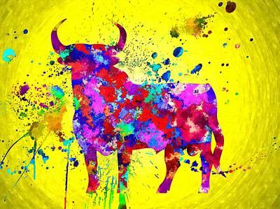 Barcelona Mixed Media - Spanish Bull by Daniel Janda