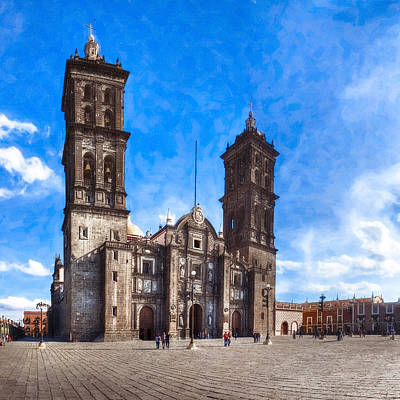 Spanish Colonial Cathedral Of Puebla Mexico Art Print by Mark E Tisdale