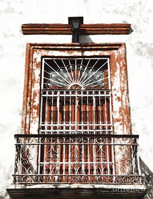 Digital Art - Spanish Colonial Wrought Iron Balcony Veranda In Merida Mexico Diffuse Glow Digital Art by Shawn O'Brien