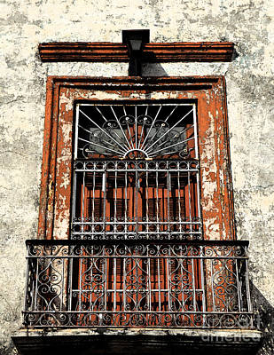 Digital Art - Spanish Colonial Wrought Iron Balcony Veranda In Merida Mexico Fresco Digital Art by Shawn O'Brien