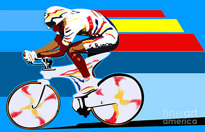 Digital Art - spanish cycling athlete illustration print Miguel Indurain by Sassan Filsoof
