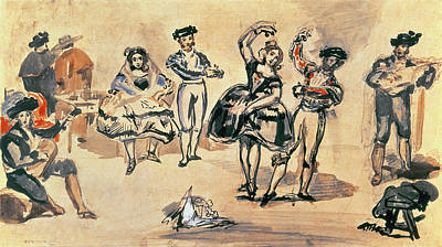 Photograph - Spanish Dancers, 1862 Wc, Pencil And Ink by Edouard Manet