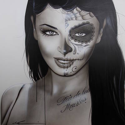Sugar Skull - ' Spanish Dark Temptation ' Art Print by Christian Chapman Art