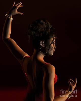 Gold Earrings Digital Art - Spanish Flamenco Dancer - 1 by Fairy Fantasies