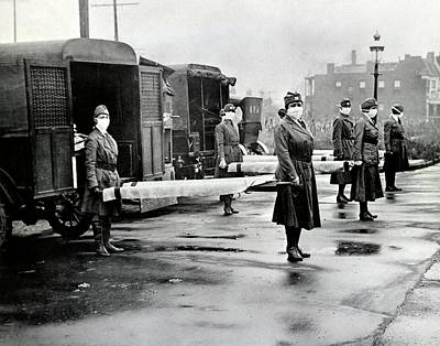 Ambulance Photograph - Spanish Flu Ambulances by Library Of Congress