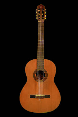 Epiphone Guitars Photograph - Spanish Guitar On Black by Debra and Dave Vanderlaan