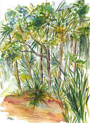 Painting - Spanish Moss Tropical Garden by Clara Sue Beym