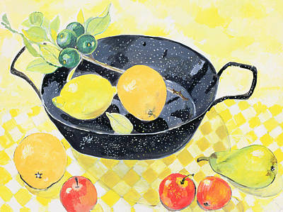 Checkered Tablecloth Painting - Spanish Pan by Hilary Jones