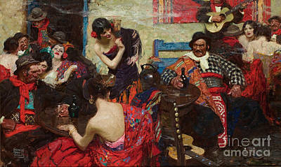 Whimsical Flowers Royalty Free Images - Spanish Tavern Royalty-Free Image by Dean Cornwell