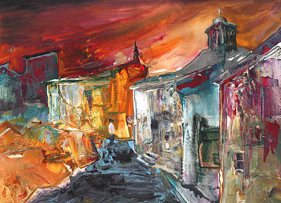 House Art Drawing - Spanish Village By Night by Miki De Goodaboom