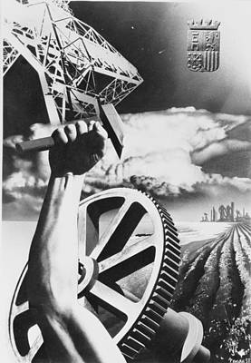 Propaganda Photograph - Spanish War Poster C1935-1942 Proclaiming Strength In Industry And Agriculture by Anonymous