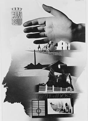 War Poster Photograph - Spanish War Poster C1935-1942 The Protective Hand Of The State Shielding The Nation by Anonymous