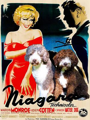 Painting - Spanish Water Dog - Perro De Agua Espanol Art Canvas Print - Niagara Movie Poster by Sandra Sij