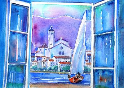 Spanish Window In Cadaques And The Church Of Santa Maria Art Print