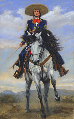 Show Horse Painting - Spanish Woman On White Paso Fina by Don  Langeneckert