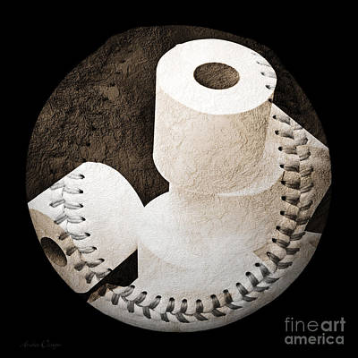 Baseball Digital Art - Spare Rolls Baseball Square by Andee Design