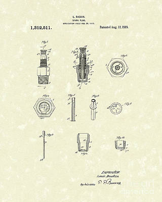 Drawing - Spark Plug 1919 Patent Art by Prior Art Design