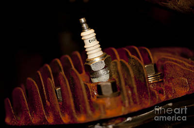 Photograph - Sparkplug And Rusty Cooling Fins by Wilma  Birdwell