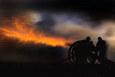 Robert Jensen Photograph - Spark Trails From Cannon Howitzer Blast by Robert Jensen