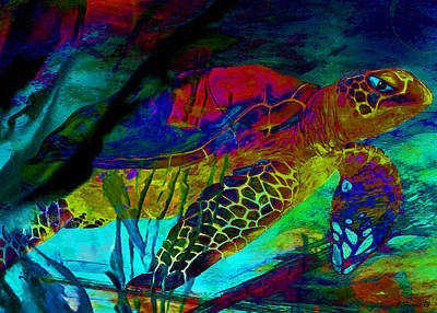 Turtle Mixed Media - Sparkle Sea Turtle by Catherine Harms